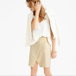 J. CREW Crossover Wrap Mini Skirt Metallic Linen 4